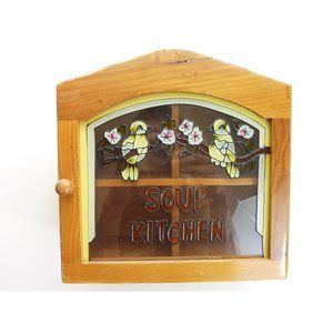 Vintage Kitchen - Vintage Wall Mounted Small Cabinet Glass Door